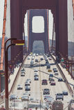 SAN FRANCISCO, USA - APRIL 07: Golden gate bridge vivid day land Royalty Free Stock Photos