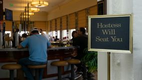 Wait to be seated sign in Cliff House Restaurant in Lands End
