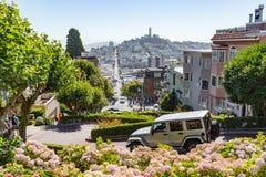 San Francisco USA - July 16, 2017 - Many vehicles drive downhill Royalty Free Stock Photos