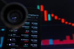 SAN FRANCISCO, USA - 9 2019 Maj: Wykres ubywanie trend krewni Cryptocurrency Ilustracja Czerwonych ?wieczek Pr?towy Spada? obraz royalty free