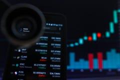 SAN FRANCISCO, USA - 9 2019 Maj: Wykres Wzrastający trend BLADY Wanchain Cryptocurrency r fotografia stock