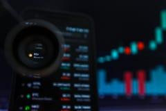 SAN FRANCISCO, USA - 9 2019 Maj: Wykres Wzrastający trend BSV Bitcoin SV Cryptocurrency r fotografia royalty free