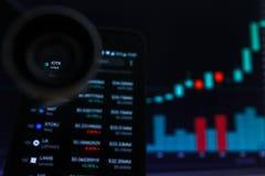 SAN FRANCISCO, USA - 9 2019 Maj: Wykres Wzrastający trend IOTX IoTeX Cryptocurrency r zdjęcie stock