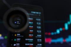 SAN FRANCISCO, USA - 9 2019 Maj: Wykres Wzrastający trend LTC Litecoin Cryptocurrency r zdjęcia stock