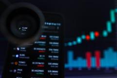 SAN FRANCISCO, USA - 9 2019 Maj: Wykres Wzrastający trend milczków milczkowie Cryptocurrency r zdjęcie stock