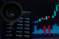 SAN FRANCISCO, USA - 9 2019 Maj: Wykres Wzrastający trend POLI- Polymath Cryptocurrency r zdjęcie stock