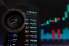 SAN FRANCISCO, USA - 9 2019 Maj: Wykres Wzrastający trend USDC USD moneta Cryptocurrency r zdjęcia royalty free