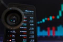 SAN FRANCISCO, USA - 9 2019 Maj: Wykres Wzrastający trend USDT postronek Cryptocurrency r zdjęcie stock