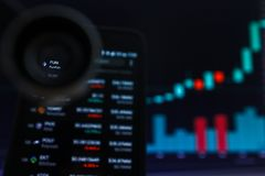 SAN FRANCISCO, USA - 9 2019 Maj: Wykres Wzrastający trend zabawy FunFair Cryptocurrency r zdjęcie stock