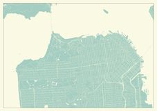 San Francisco USA Map in Retro Style. High detail vector illustration royalty free illustration