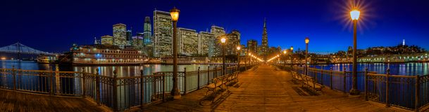 Downtown San Francisco and the Transamerica Pyramid at Chrismas Stock Image