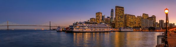 San Francisco Belle and downtown at Chrismas from wooden Pier 7 Stock Photos