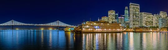 San Francisco Belle and downtown at Chrismas from wooden Pier 7 Royalty Free Stock Photos