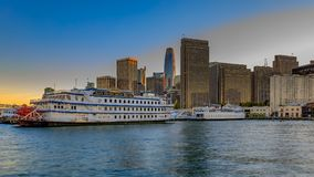 San Francisco Belle and downtown at Chrismas from wooden Pier 7 Royalty Free Stock Photography