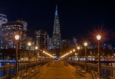 Downtown San Francisco and the Transamerica Pyramid at Chrismas Stock Photography