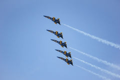 San Francisco, USA - October 8: Navy Blue Angels during the show in SF Fleet Week on October 8, 2011 in San Francisco, USA. Stock Photo