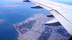 SAN FRANCISCO, USA - OCTOBER 4th, 2014: an aerial view of golden gate bridge and downtown sf, taken from a plane.  Stock Photo