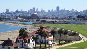 SAN FRANCISCO, USA - OCTOBER 5th, 2014: Crissy Field, The Palace of Fine Arts and the downtown skyline in the background stock photos