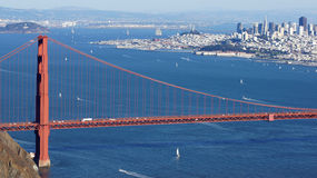 SAN FRANCISCO, USA - OCTOBER 4th, 2014: Golden Gate Bridge with SF city in the background, seen from Marin Headlands Stock Photos