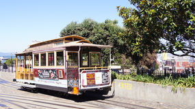 SAN FRANCISCO, USA - OCTOBER 5th, 2014: Street cable car, an iconic mode of transportation in California royalty free stock photos