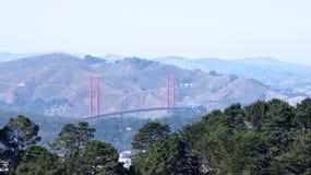 SAN FRANCISCO USA - OKTOBER 4th, 2014: Golden gate bridge med SF-staden i bakgrunden som ses från tvilling- maxima Royaltyfri Fotografi