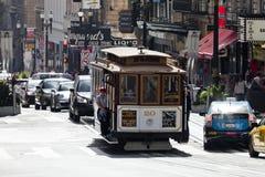 San Francisco-USA, spårvagnen för kabelbil Fotografering för Bildbyråer