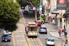 San Francisco-USA, spårvagnen för kabelbil Arkivbild