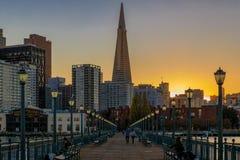 San Francisco van de binnenstad en de Transamerica-Piramide in Chrismas Royalty-vrije Stock Afbeeldingen