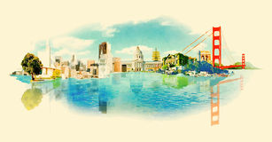 San francisco. Vector watercolor san francisco city illustration stock illustration