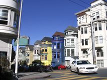 San Francisco Victorian Houses. A corner in Haight-Ashbury neighbourhood, San Francisco, with colored typical Victorian houses Stock Photos