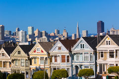 San Francisco Victorian houses in Alamo Square California Royalty Free Stock Photos