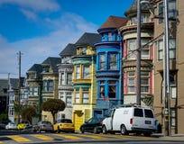 San Francisco Victorian Houses Painted Ladies i den Kalifornien enheten royaltyfria bilder