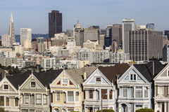 San Francisco Victorians and Skyline Royalty Free Stock Photo