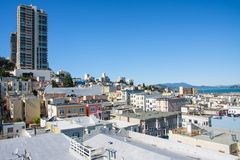 San Francisco view. Russian Hill neighborhood, San Francisco - a view from a rooftop Royalty Free Stock Image