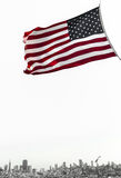 San francisco view with american flag. San francisco and  american flag view from boat Royalty Free Stock Photography