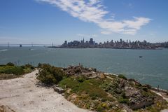 San Francisco View d'île d'Alcatraz, la Californie photos libres de droits