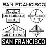 San Francisco vintage labels set. Landmarks of San Francisco vintage labels set Royalty Free Stock Photography