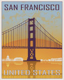San Francisco vintage poster. In orange and blue background with white skyiline in editable vector file Royalty Free Stock Photos
