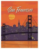 San Francisco vintage poster travel Stock Photography