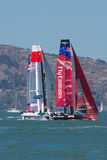 San Francisco während des Schlusses des Amerika's Cup 2012 Stockfotos