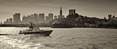 San Francisco Waterfront. A pilot vessel cruises the San Francisco bay royalty free stock photo