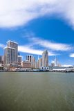 San Francisco Waterfront. (Embarcadero and Ferry Building view), taken from Pier 14. Wide angle composition Royalty Free Stock Photos