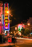 San Francisco - World Famous Condor Club. A vivid red light district nighttime view of the Condor Topless A Go-Go club, one of several such establishments in the Royalty Free Stock Image