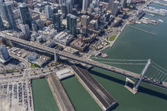 San Francisco y costa del puente de la bahía Imágenes de archivo libres de regalías