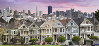 San Franciso Skyline and the Painted Ladies Stock Photo