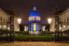 San Franicisco City Hall in Blue and Gold. City Hall in blue and gold light in honor of the Golden State Warriors making the 2013 NBA playoffs Royalty Free Stock Photos
