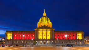 San Franicisco City Hall in Red and Gold. City Hall in red and gold light in honor of the 49ers hosting an NFL playoff game on January 12, 2013 Stock Photography