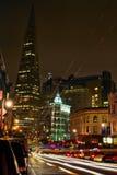 San Fransisco śródmieście przy nocą Zdjęcie Stock
