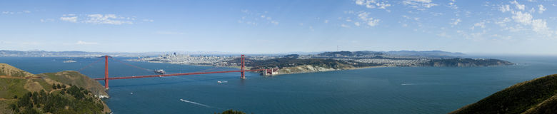 San Fransisco Bay. A panoramic view of the San Fransisco bay area from the pacific side of The Golden Gate, with the city skyline in the background against a Royalty Free Stock Images