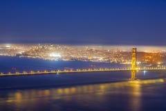 San Fransisco Golden Gate Bridge nocą Obrazy Royalty Free